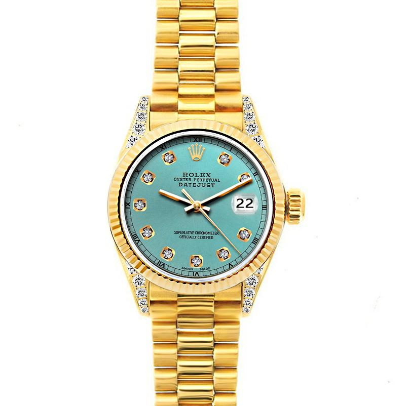 18k Yellow Gold Rolex Datejust Diamond Watch, 26mm, President Bracelet Blue Green Dial w/ Diamond Lugs