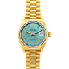 Rolex Datejust 26mm 18k Yellow Gold President Bracelet Blue Green Dial