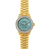 18k Yellow Gold Rolex Datejust Diamond Watch, 26mm, President Bracelet Ice Blue Dial w/ Diamond Bezel and Lugs