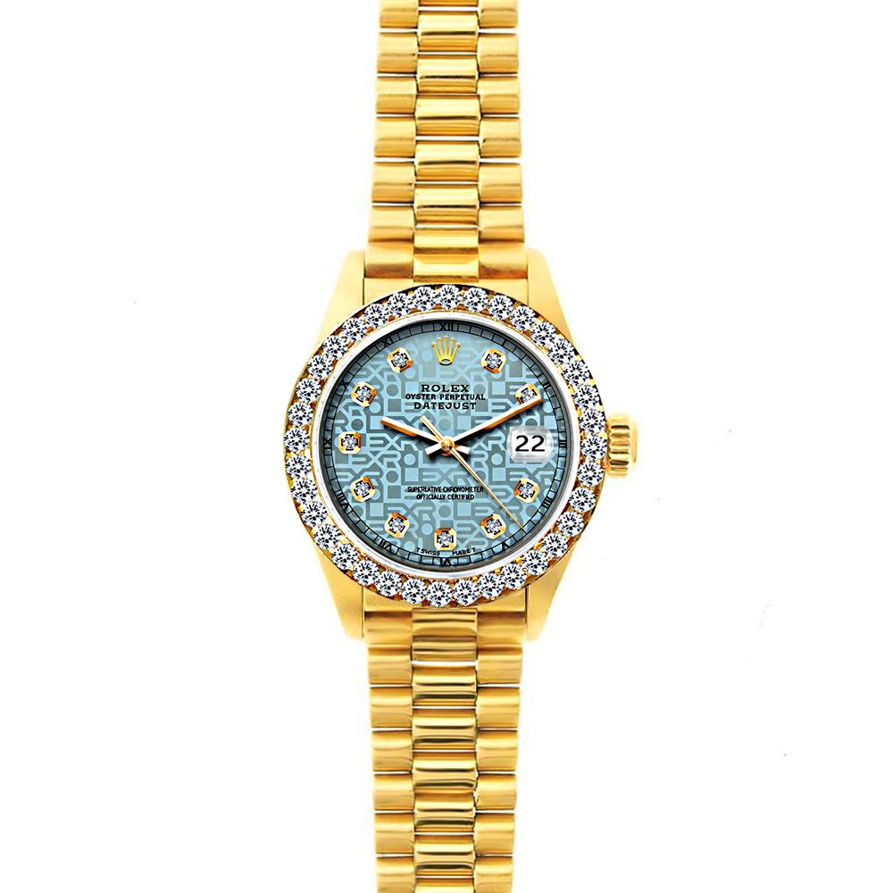 18k Yellow Gold Rolex Datejust Diamond Watch, 26mm, President Bracelet Ice Blue Rolex Dial w/ Diamond Bezel