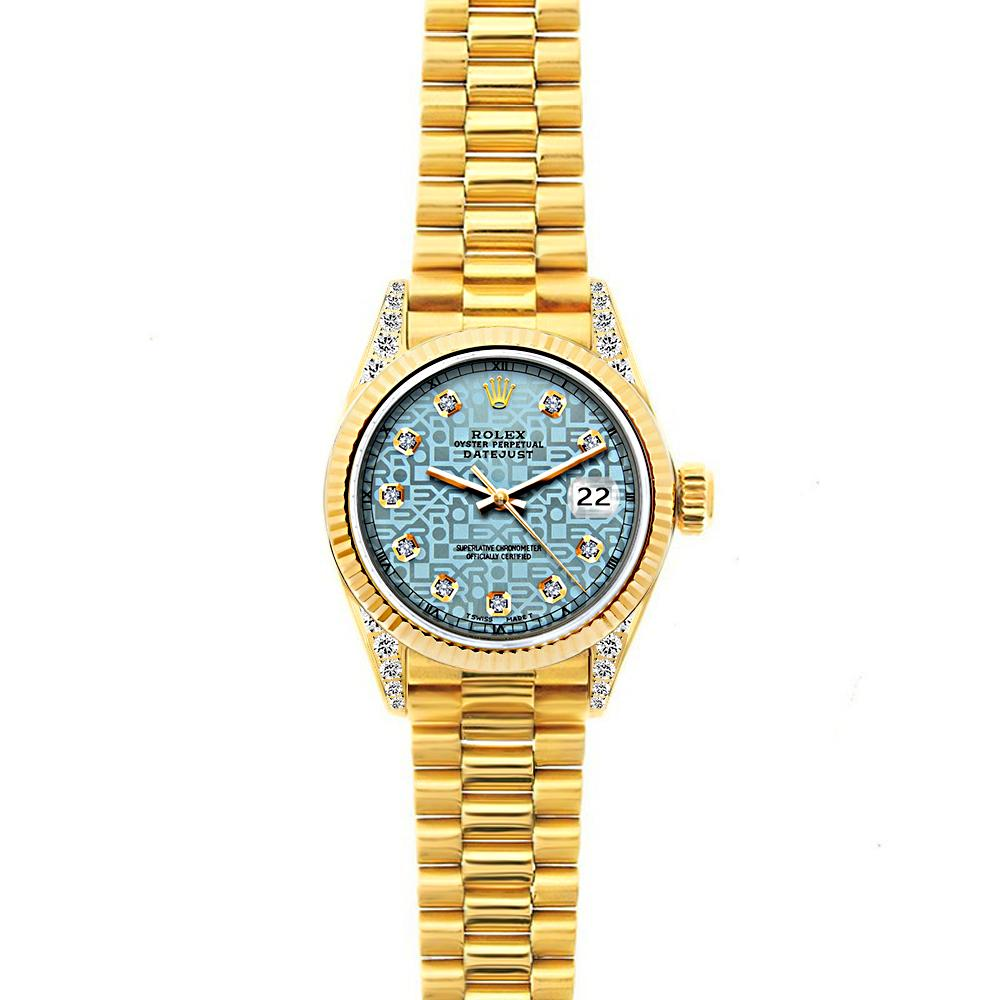 18k Yellow Gold Rolex Datejust Diamond Watch, 26mm, President Bracelet Ice Blue Rolex Dial w/ Diamond Lugs