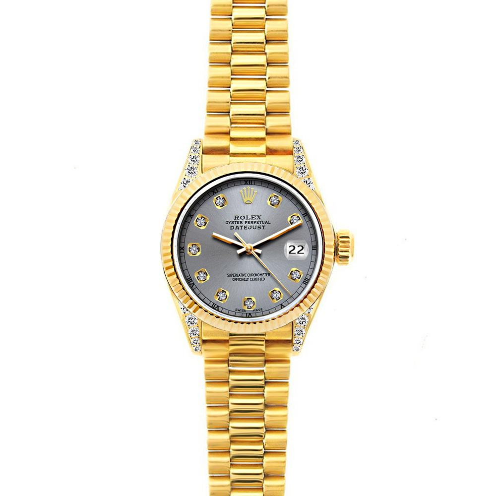 18k Yellow Gold Rolex Datejust Diamond Watch, 26mm, President Bracelet Gray Dial w/ Diamond Lugs