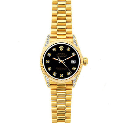 18k Yellow Gold Rolex Datejust Diamond Watch, 26mm, President Bracelet Black Dial w/ Diamond Lugs