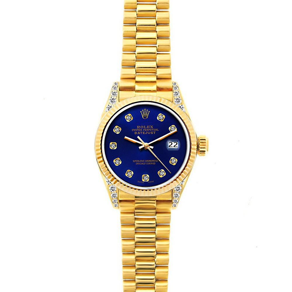 18k Yellow Gold Rolex Datejust Diamond Watch, 26mm, President Bracelet Ultramarine Dial w/ Diamond Lugs