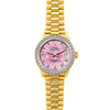 18k Yellow Gold Rolex Datejust Diamond Watch, 26mm, President Bracelet Pink Flower Dial w/ Diamond Bezel