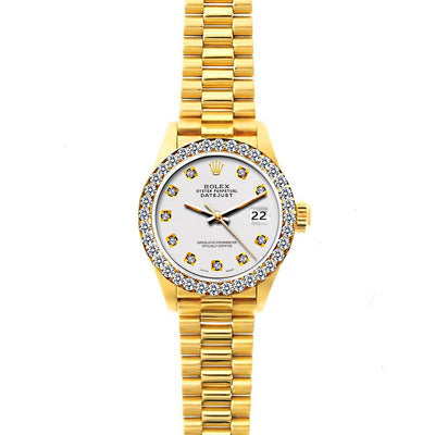 18k Yellow Gold Rolex Datejust Diamond Watch, 26mm, President Bracelet Lilac Dial w/ Diamond Bezel