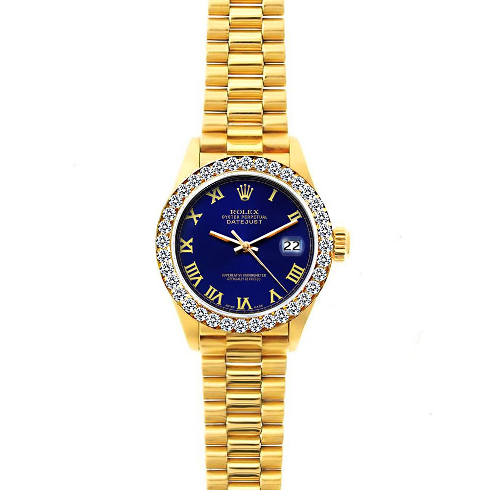 18k Yellow Gold Rolex Datejust Diamond Watch, 26mm, President Bracelet Ultramarine Dial w/ Diamond Bezel