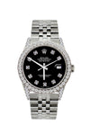 Rolex Datejust Diamond Watch, 36mm, Stainless Steel Black Dial w/ Diamond Bezel and Lugs