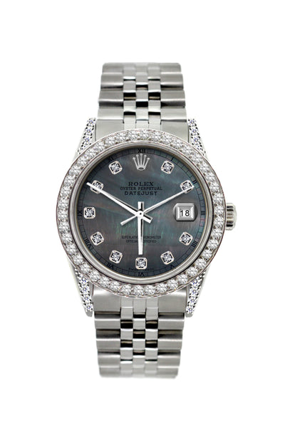 Rolex Datejust Diamond Watch, 36mm, Stainless Steel Black Mother of Pearl Dial w/ Diamond Bezel and Lugs