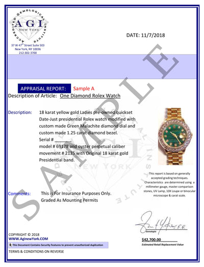 18k Yellow Gold Rolex Datejust Diamond Watch, 26mm, President Bracelet Cardinal Dial w/ Diamond Lugs
