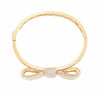 18K Yellow Gold Diamond Bow Design Bangle With Round Cut Diamonds 8.22CT