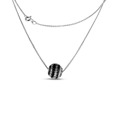 14K White Gold White and Black Diamond Ball Necklace 1.00CT
