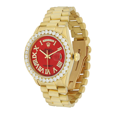 Yellow Gold Rolex Day Date President Diamond Watch, 36mm, Red Roman Numerals Dial 18K Yellow Gold W/ Diamond Bezel