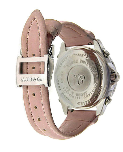 Pink Jacob & Co 5 Time Zones Watch with Original Factory Diamonds