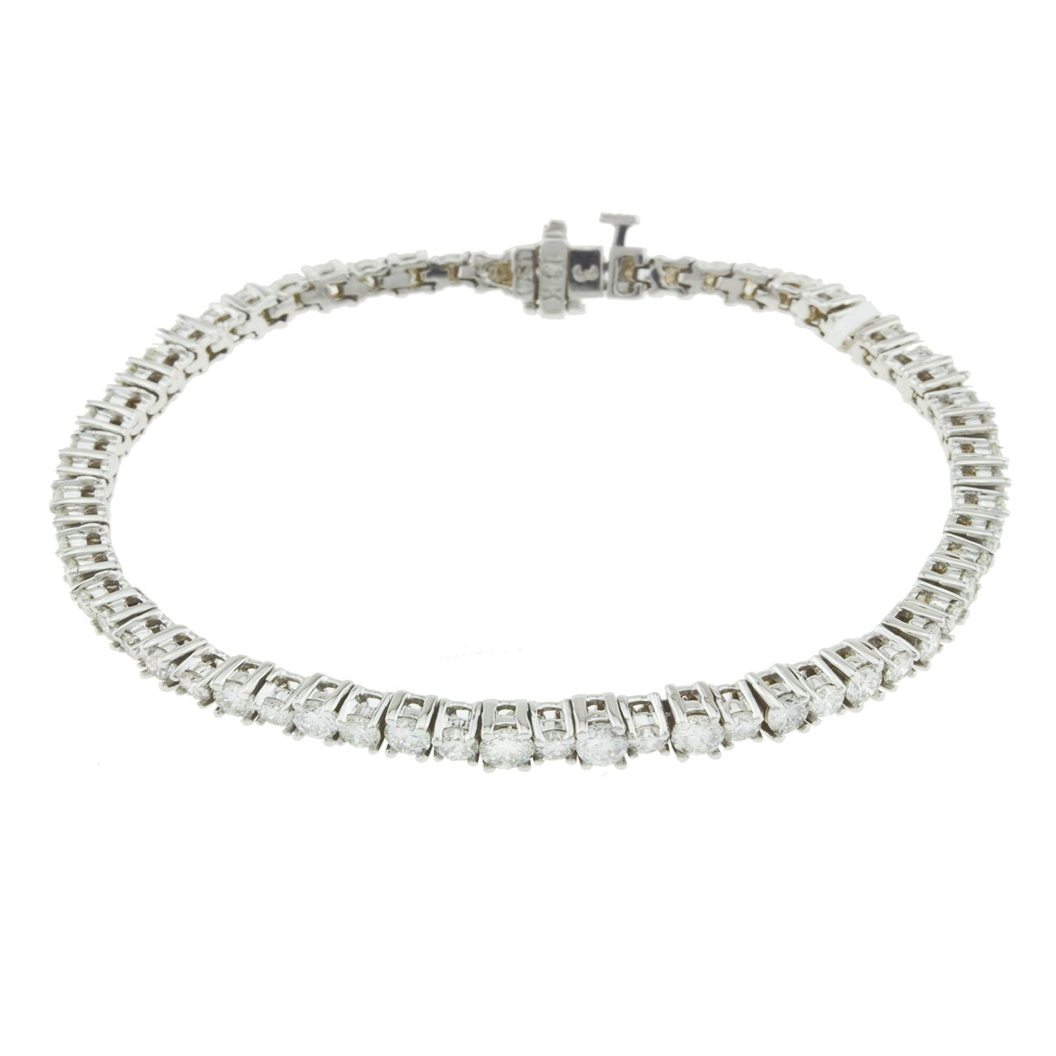 18K White Gold Diamond Tennis Bracelet With Round Cut Diamonds 6.25CT