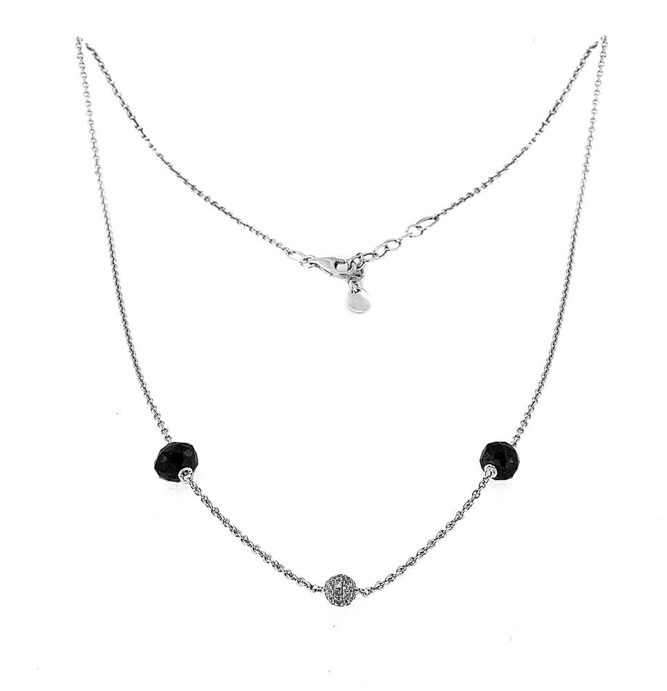 18K White Gold Ball Necklace with Black and White Diamonds 6.00CT