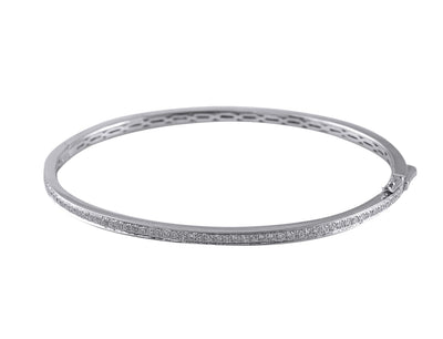 18K White Gold Bangle with 0.64CT Of Round Cut Diamonds