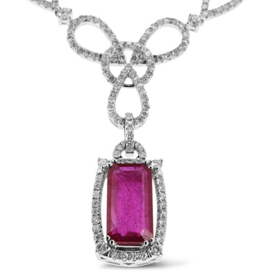White Gold Ruby Pendant with Diamonds