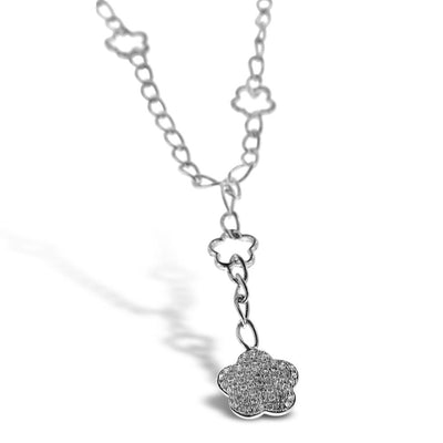 White Gold Necklace with Floral Diamond Pendant
