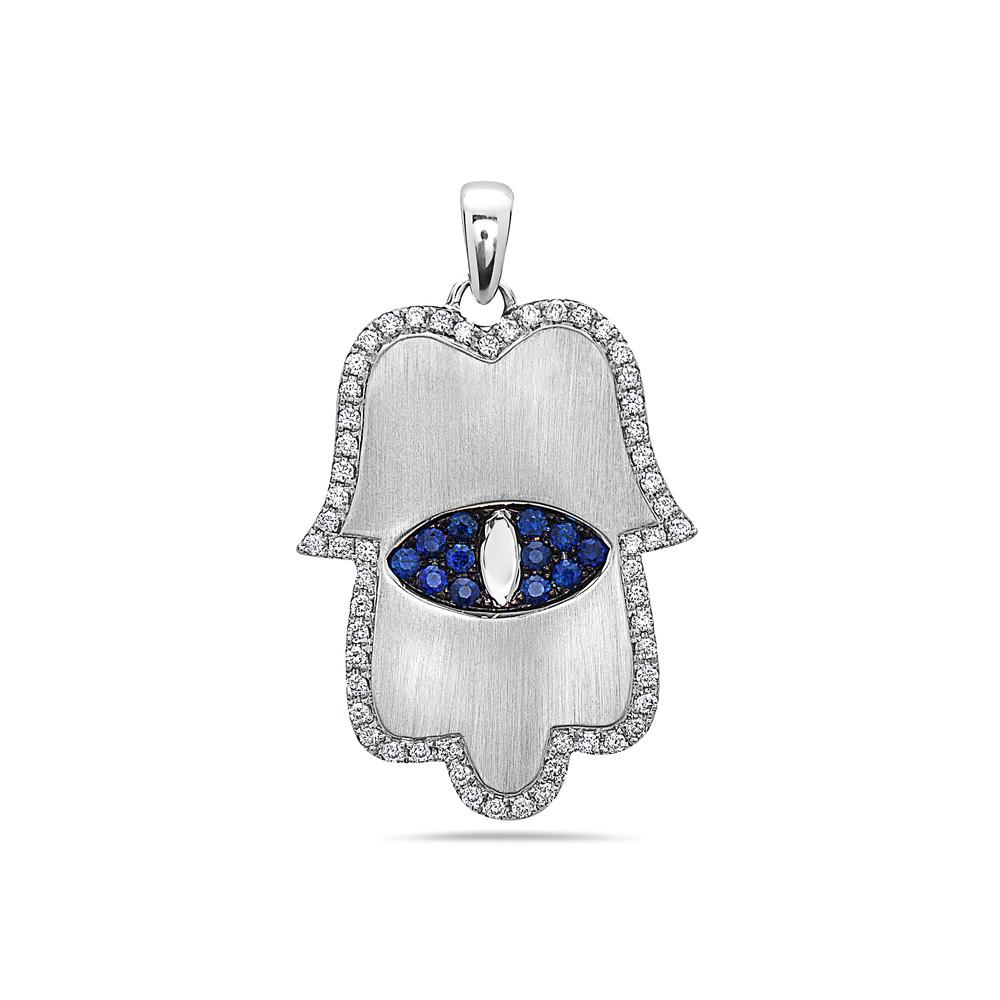 "18K White Gold ""Hamsa"" Women's Pendant with 0.55CT Diamonds & 0.43CT SAP"