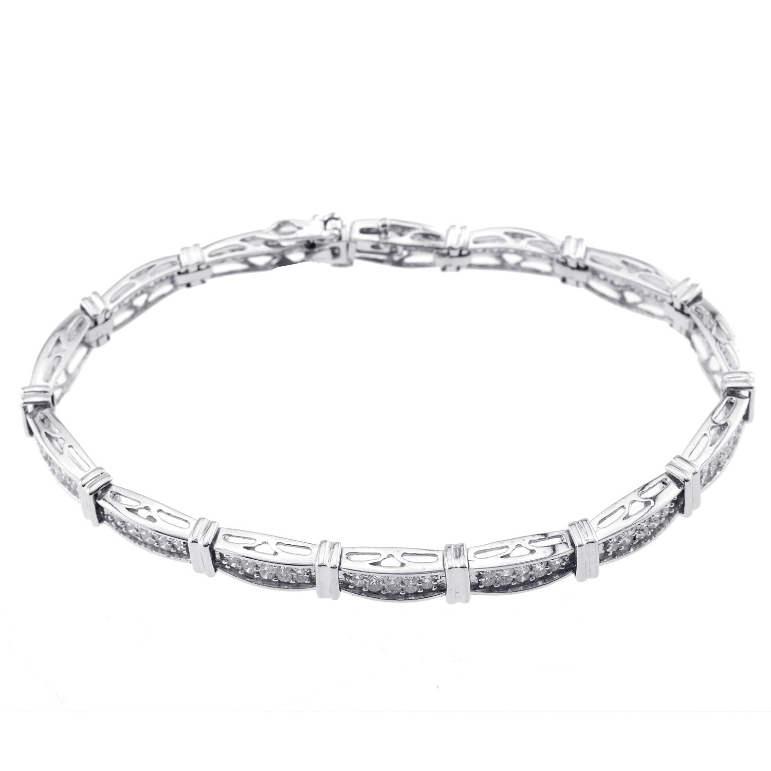 14K White Gold Princess Cut Diamond Bracelet With 7.50CT