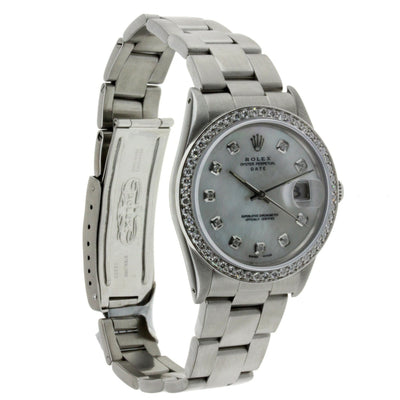 Vintage Rolex Oyster Perpetual Date Diamond Watch,, Stainless Steel with Diamonds 34mm
