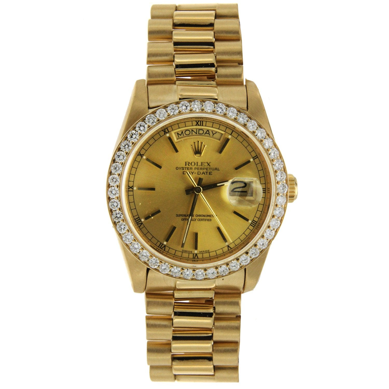 Rolex Day-Date Diamond Watch, 36mm, President 18K Yellow Gold Champagne Dial W/ Diamond Bezel