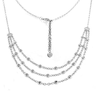 18K White Gold Multi-Strand Necklace with Diamonds 1.00CT