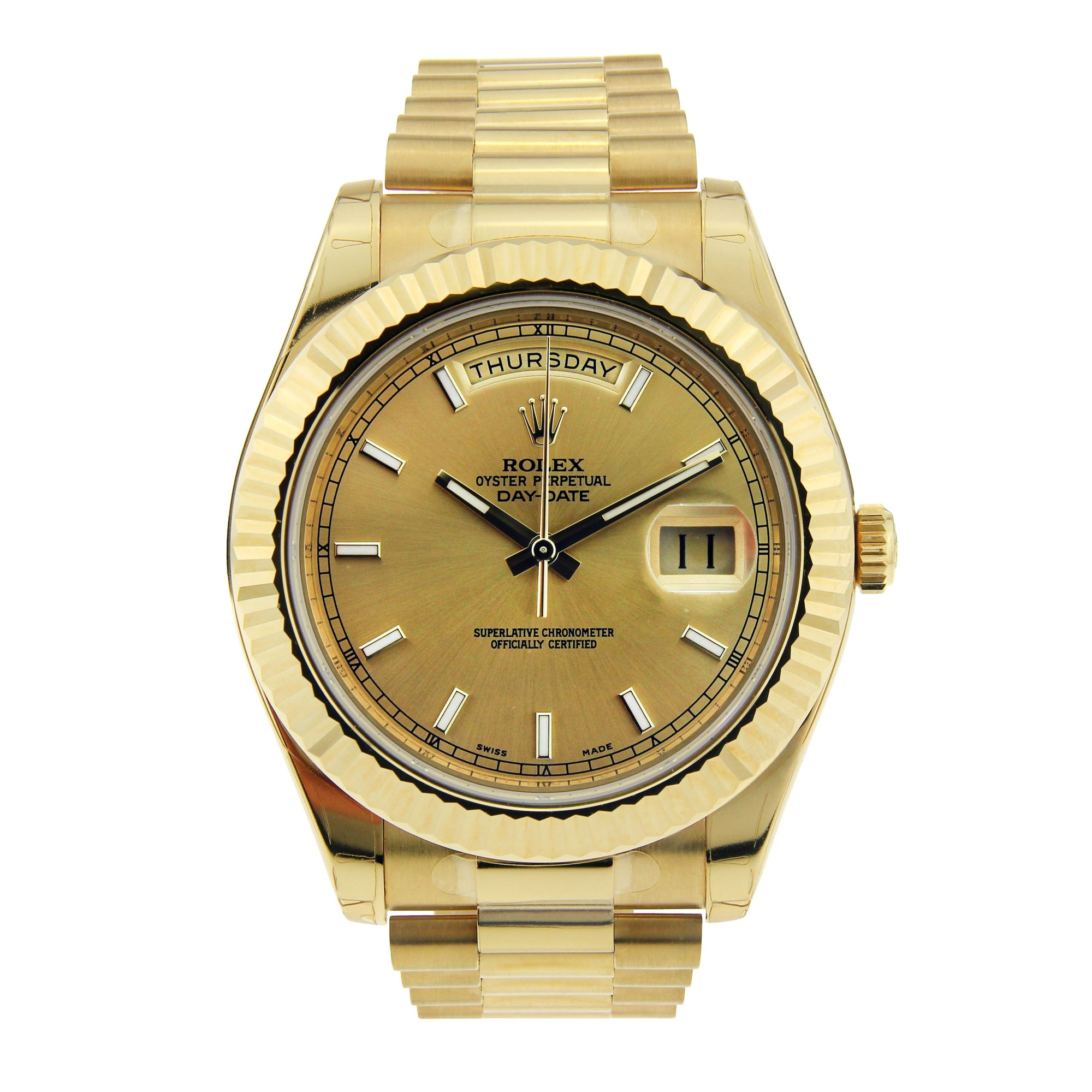 18K Yellow Gold Rolex Day Date II 41mm Champagne Stick Dial 218238