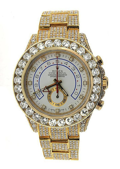 Rolex Yacht Master II Diamond Watch, 116688 44mm, Yellow Gold Bracelet and White Dial with 45CT Diamonds
