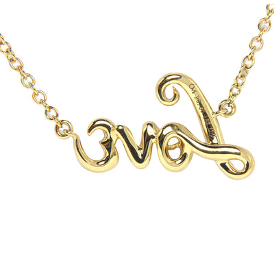 "18K Yellow Gold Diamond ""Love"" Pendant with Chain 0.20CT"