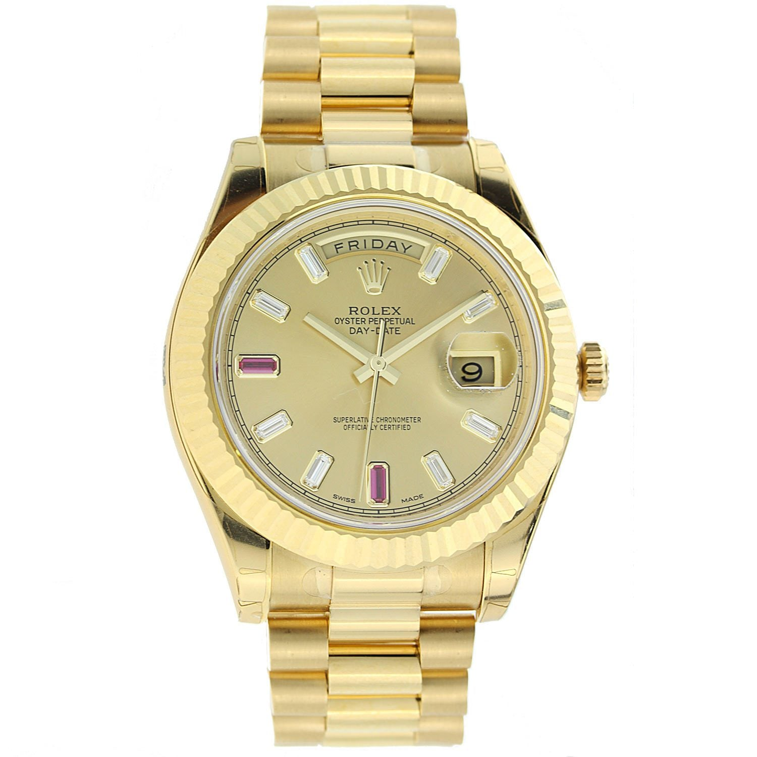 18K Yellow Gold Rolex Diamond Watch, Day Date II President 41mm, Champagne Diamond and Ruby Dial 218238