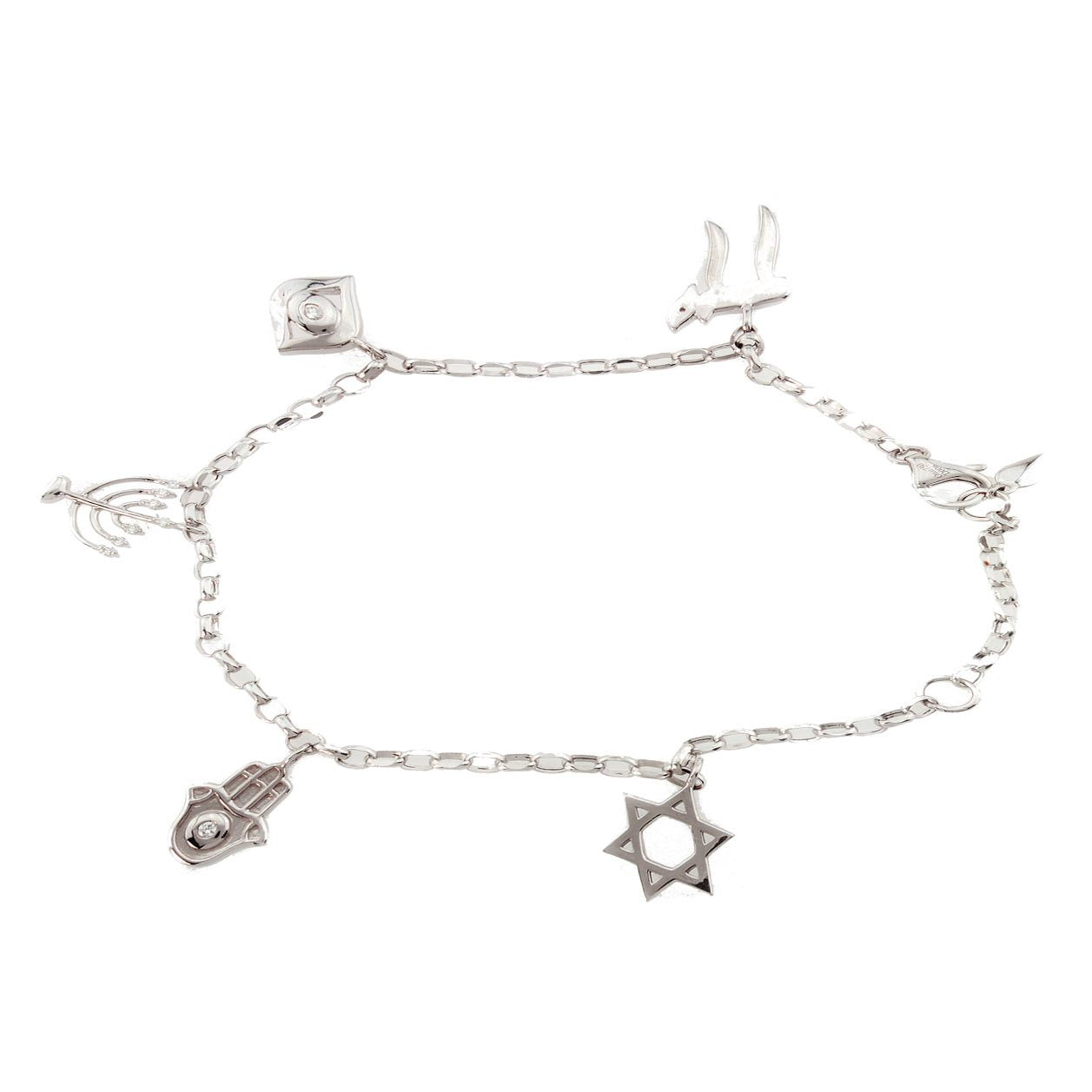 18K White Gold Diamond Charm Bracelet with Jewish Motifs 0.06CT
