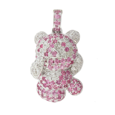 Diamond and Pink Sapphire Teddy Bear Pendant