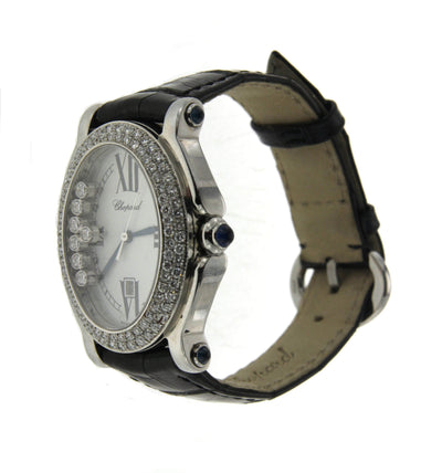 Oval Shape Chopard Happy Sport with Leather Band