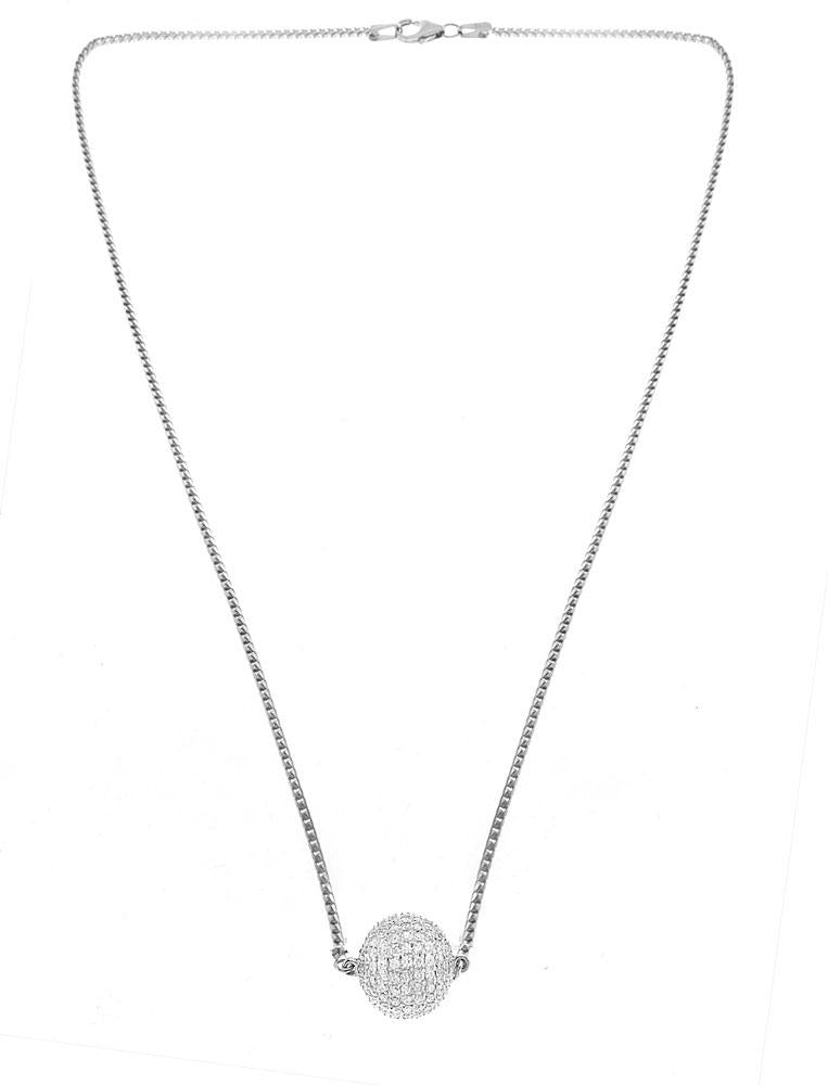 14K White Gold Diamond Ball Necklace With Round Cut Diamonds 2.00CT