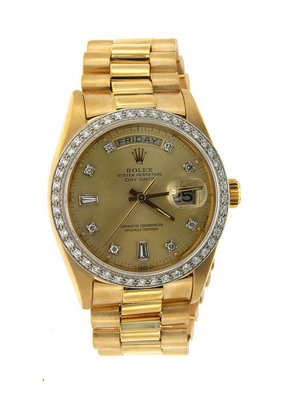 Yellow Gold Rolex Day Date Diamond Watch, 36mm, Champagne Diamond Dial W/ 2.0 CT Diamond Bezel