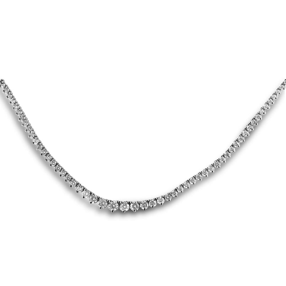 14K White Gold Graduated Diamond Tennis Necklace 6.00CT