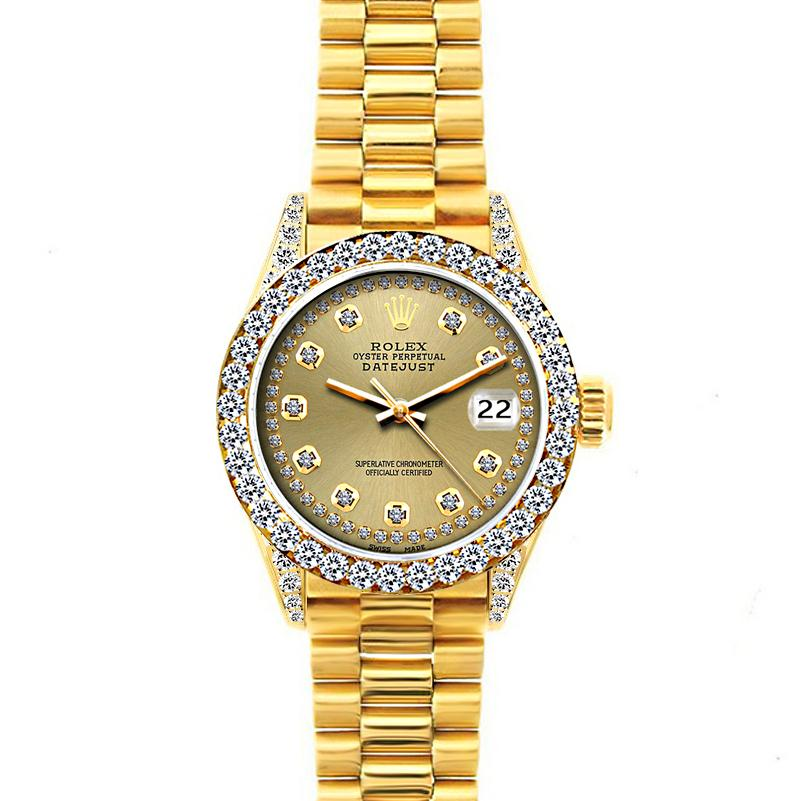 18k Yellow Gold Rolex Datejust Diamond Watch, 26mm, President Bracelet Champagne Dial w/ Diamond Bezel and Lugs