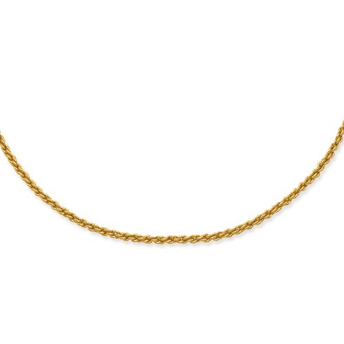 "Gold-plated Kelly Waters 2mm French Rope Chain Available Sizes 18""-24"""