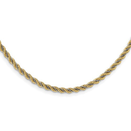 14K Two-tone Polished Textured Rope Necklace Available Size 18""