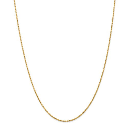 "14k Yellow Gold 1.3mm Solid Machine-Made with Lobster Rope Chain Available Sizes 6""-30"""