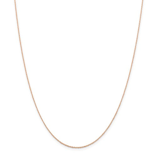"14k Rose Gold .5 mm Cable Rope Chain Available Sizes 16""-24"""