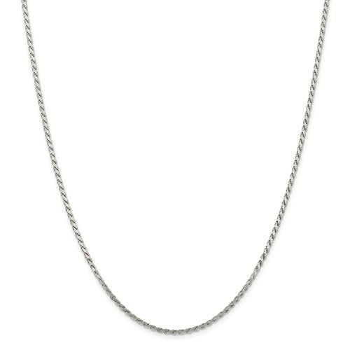 "Sterling Silver 2.25mm Flat Rope Chain Available Sizes 7""-24"""