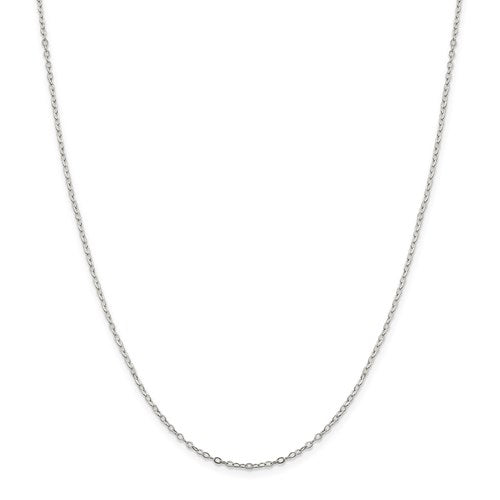 "Sterling Silver 1.5mm Flat Open Oval Cable Chain Available Sizes 16""-24"""