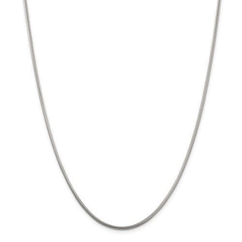 "Sterling Silver 2mm Round Snake Chain Available Sizes 7""-30"""