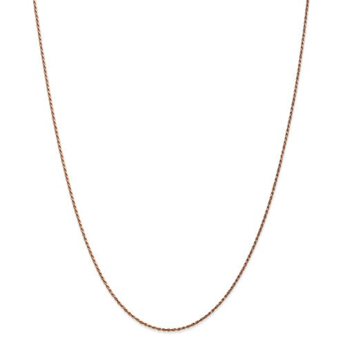 "14K Rose Gold 1.0mm Rope Available Sizes in 9""-30"""
