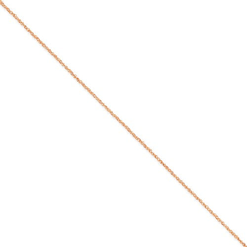 "14K Rose Gold 1.7mm Ropa Chain Anklet Available Sizes 9""-24"""