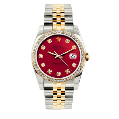 Rolex Datejust Diamond Watch, 36mm, Yellow Gold and Stainless Steel Bracelet Maroon Dial w/ Diamond Bezel