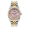 Rolex Datejust Diamond Watch, 36mm, Yellow Gold and Stainless Steel Bracelet Light Pink Rolex Dial w/ Diamond Bezel